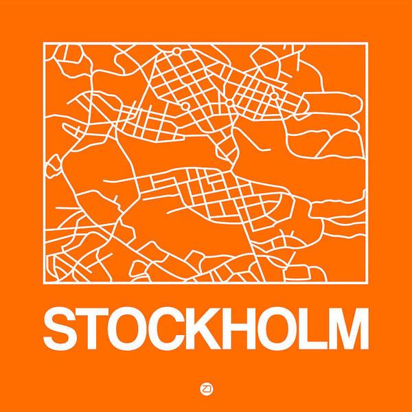 Wall Art - Digital Art - Orange Map Of Stockholm by Naxart Studio