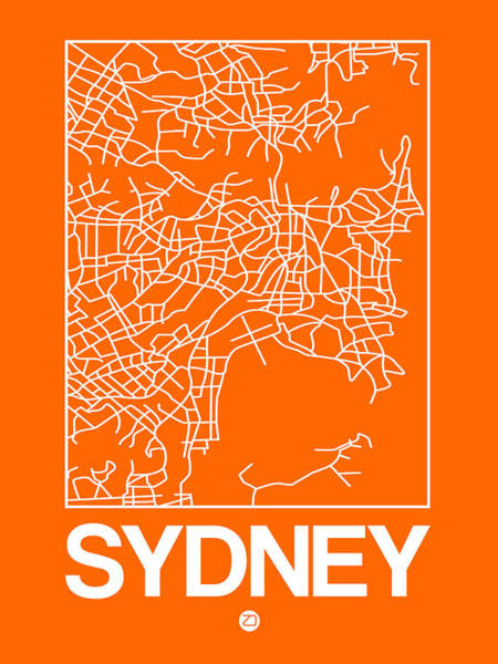 World Traveler Wall Art - Digital Art - Orange Map Of Sydney by Naxart Studio