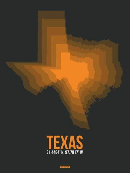 Wall Art - Digital Art - Orange Map Of Texas by Naxart Studio