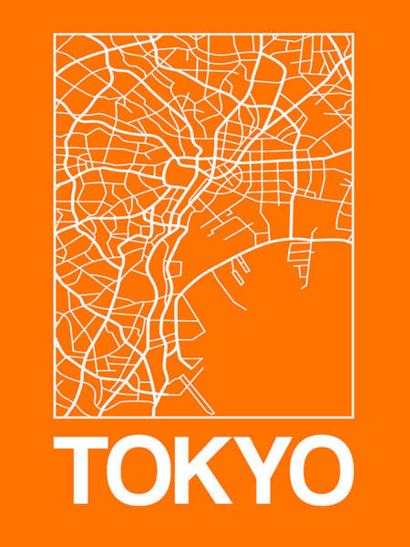 World Traveler Wall Art - Digital Art - Orange Map Of Tokyo by Naxart Studio