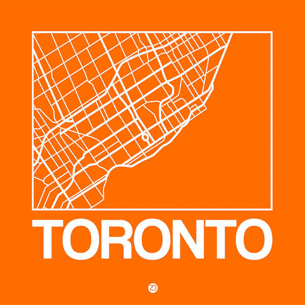 Wall Art - Digital Art - Orange Map Of Toronto by Naxart Studio