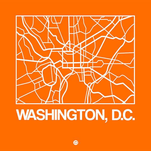 Unique Wall Art - Digital Art - Orange Map Of Washington, D.c. by Naxart Studio