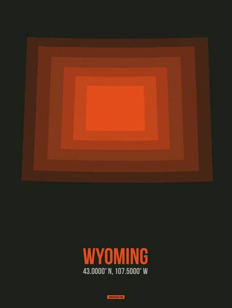 Wall Art - Digital Art - Orange Map Of Wyoming  by Naxart Studio