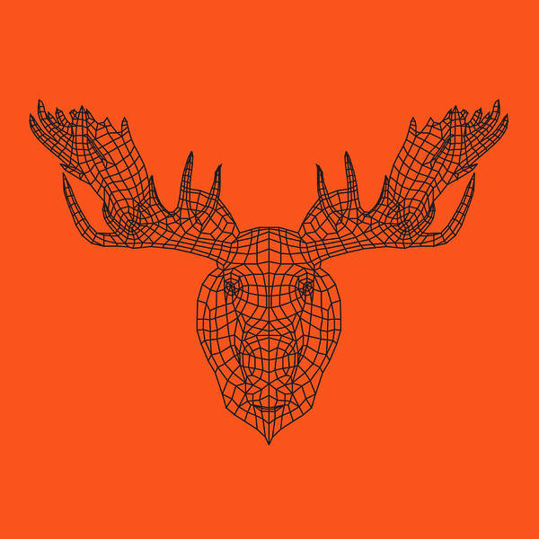 Wall Art - Digital Art - Orange Moose by Naxart Studio