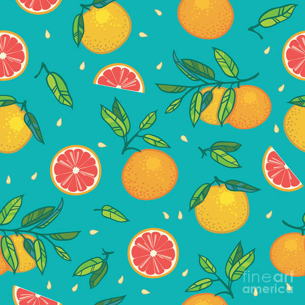 Wall Art - Digital Art - Orange Or Grapefruit With Leaves by Shum-stock