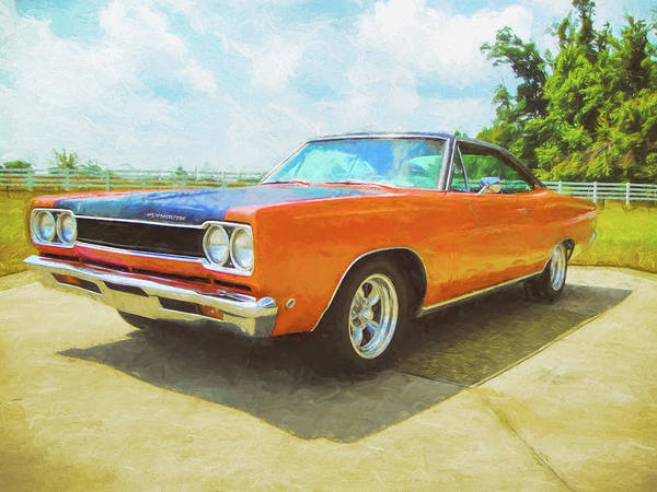 Digital Art - Orange Plymouth Muscle Car by Rick Wicker