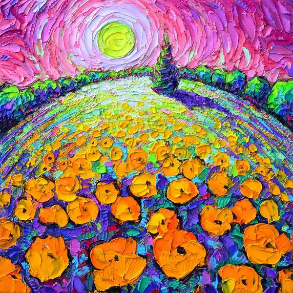 Painting - Orange Poppies Roundscape Mystic Pink Night Textural Impasto Knife Oil Painting Ana Maria Edulescu by Ana Maria Edulescu