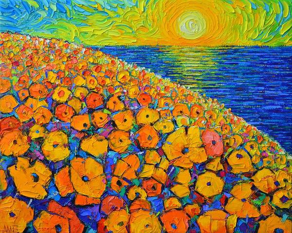 Painting - Orange Poppies Sea Sunrise Abstract Landscape Textural Palette Knife Oil Painting Ana Maria Edulescu by Ana Maria Edulescu