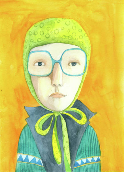 Headwear Digital Art - Orange Portrait With Glasses by Jenny Meilihove