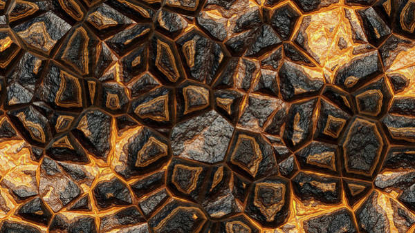 Digital Art - Orange Rock Wall Abstract by Don Northup