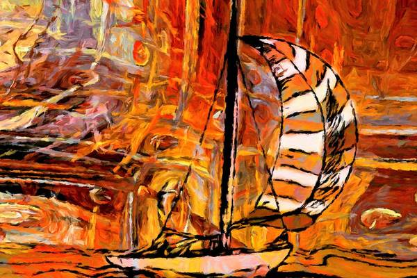 Cruiser Painting - Orange Sailing Ship by ArtMarketJapan