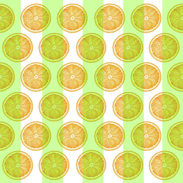 Orange Slice Pattern 2 - Tropical Pattern - Tropical Print - Lemon - Orange - Fruit - Tangerine Art Print