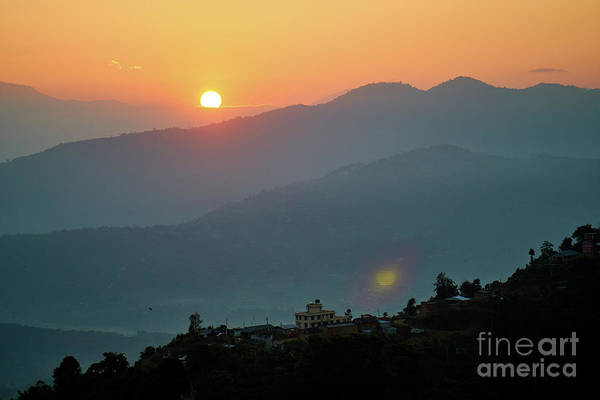 Wall Art - Photograph - Orange Sunrise Above Mountain In Valley Himalayas Mountains by Raimond Klavins