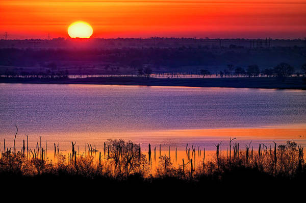 Wall Art - Photograph - Orange Sunrise On Benbrook Lake by Dean Fikar