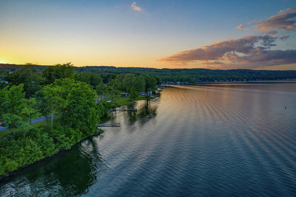 Photograph - Orange Sunset Sky Keuka Lake by Ants Drone Photography