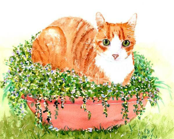 Painting - Orange Tabby Cat In Flower Pot by Carlin Blahnik CarlinArtWatercolor