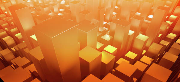 Order Digital Art - Orange Three Dimensional Rectangular by Ralf Hiemisch