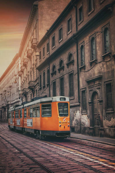 Italia Photograph - Orange Tram Milan Italy by Carol Japp
