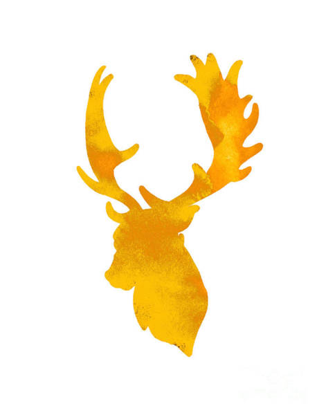 Wall Art - Painting - Orange-yellow Elk Head Silhouette by Joanna Szmerdt