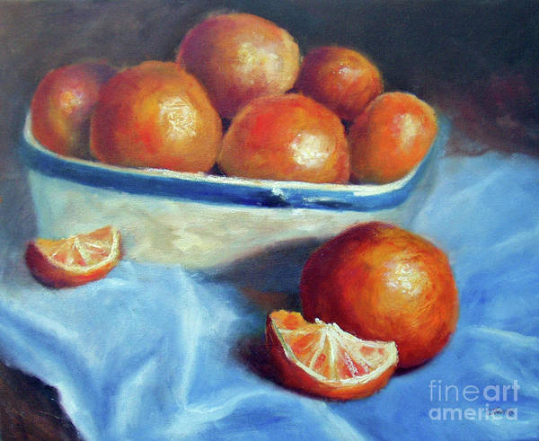 Painting - Oranges And Blue by Carolyn Jarvis