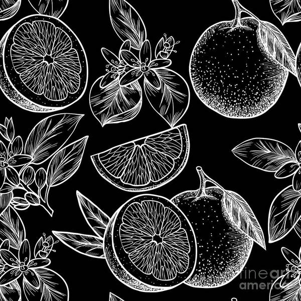 Oranges  And Flowers. Vector Seamless Art Print