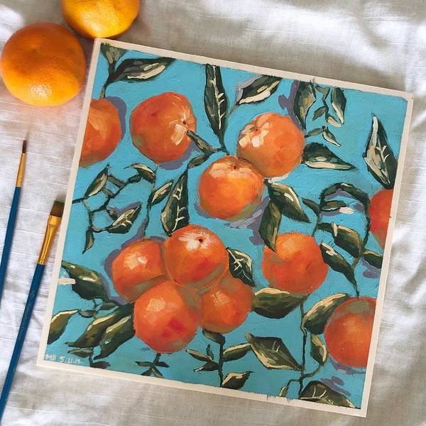 Wall Art - Painting - Oranges by Meera Bhatia