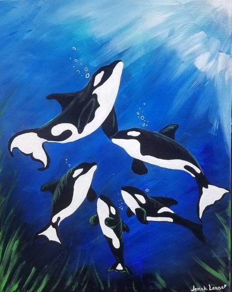 Painting - Orca Family  by Jennah Lenae