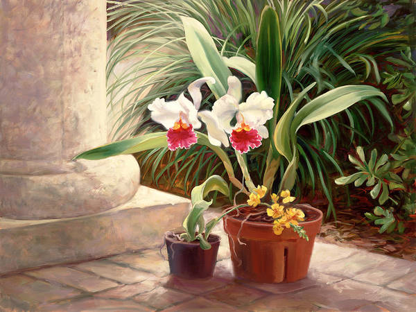 Tropical Garden Painting - Orchid Duo by Laurie Snow Hein