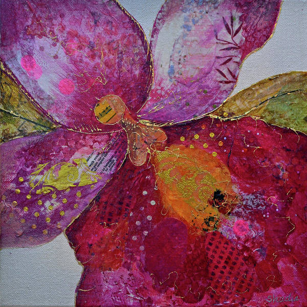 Close-up Painting - Orchid Passion I by Shadia Derbyshire