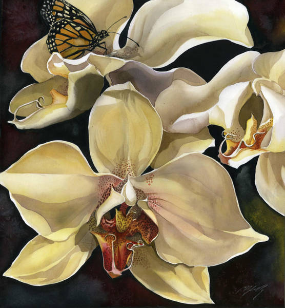 Painting - Orchid With Monarch Butterfly by Alfred Ng