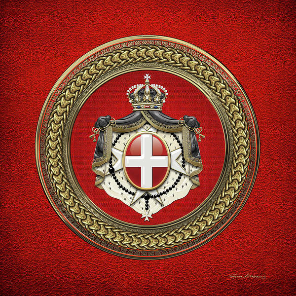 Digital Art - Order Of Malta -  S M O M Coat Of Arms Special Edition Over Red Leather by Serge Averbukh