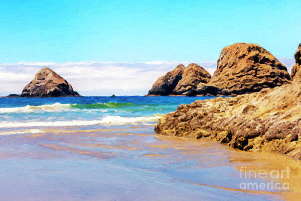 Mixed Media - Oregon Coast - Seascape - Oceanside by David Millenheft