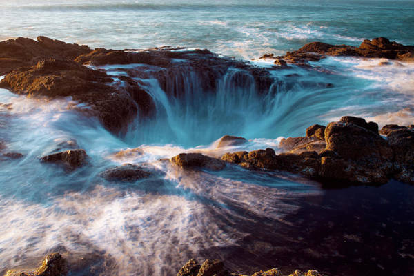 Photograph - Oregon Coast Sunset Thor's Well O42319 by Rospotte Photography