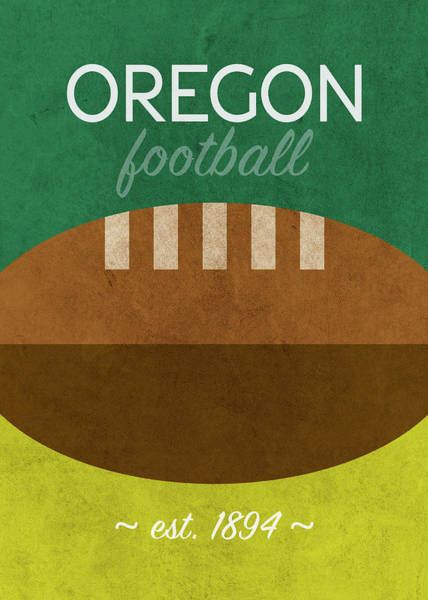 Wall Art - Mixed Media - Oregon Football Minimalist Retro Sports Poster Series 014 by Design Turnpike