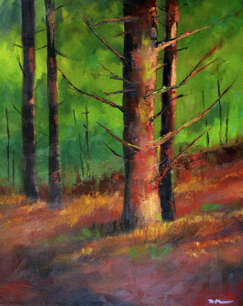 Wall Art - Painting - Oregon Pine Forest by Nancy Merkle