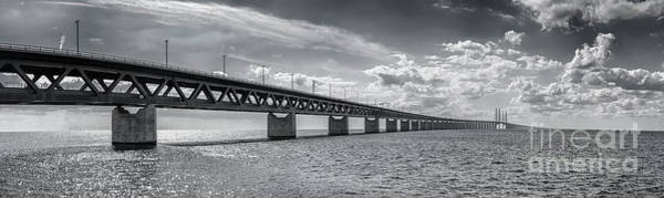Wall Art - Photograph - Oresundsbron Black And White Panorama by Antony McAulay