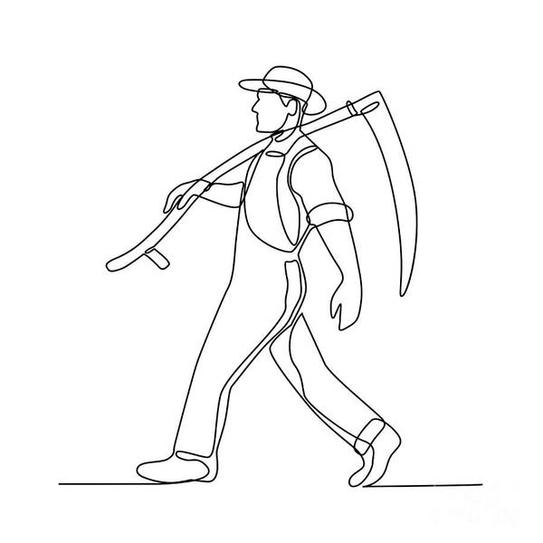 Wall Art - Digital Art - Organic Farmer Walking Scythe Continuous Line by Aloysius Patrimonio