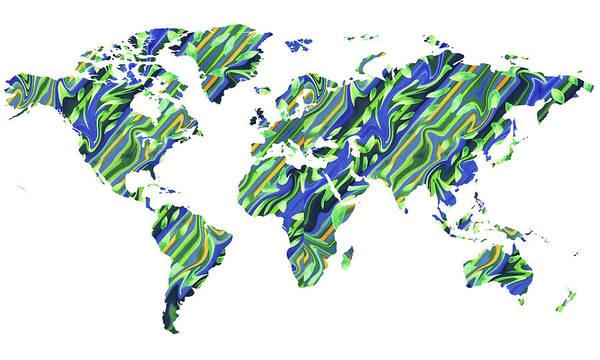 Painting - Organic Green Watercolor World Map by Irina Sztukowski