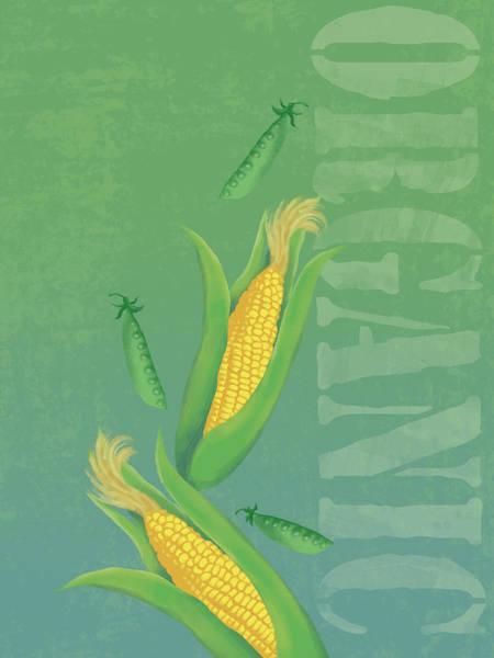 Pea Digital Art - Organic Produce Illustration by Don Bishop