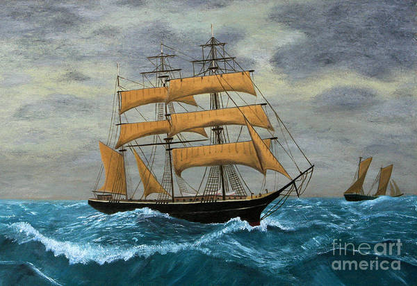 Wall Art - Digital Art - Original Artwork, Clipper Ships At Sea by Terracestudio