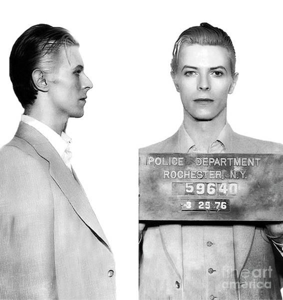 Photograph - Original David Bowie Mugshot 1976 by Doc Braham