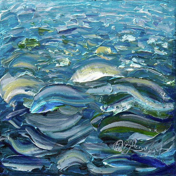Painting - Original Oil Painting With Palette Knife On Canvas - Impressionist Roling Blue Sea Waves  by OLena Art Brand