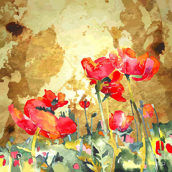 Herbal Wall Art - Digital Art - Original Watercolor Poppy Flower In by Karakotsya