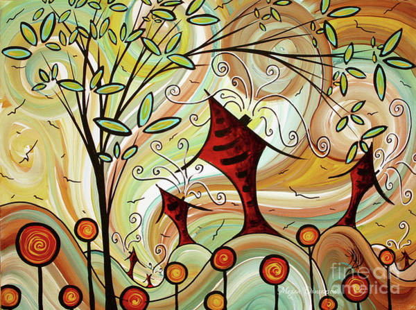 Wall Art - Painting - Original Whimsical Houses Landscape Paintings Fire Poppies By Megan Duncanson by Megan Duncanson