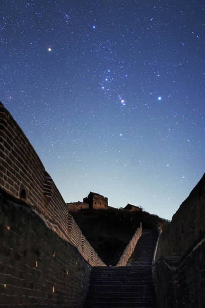 Wall Art - Photograph - Orion Rises Above The Great Wall by Jeff Dai