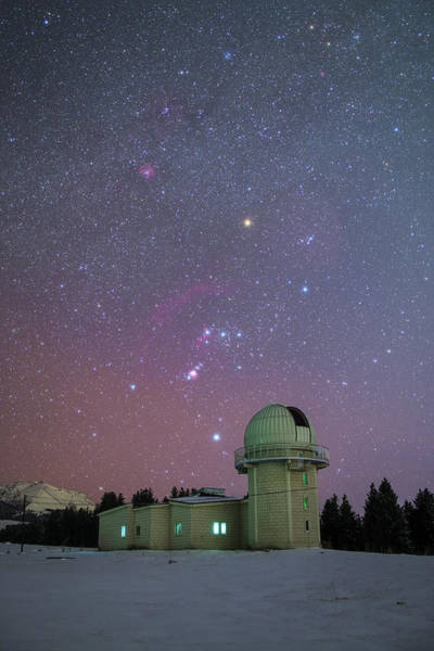 Photograph - Orion Set Above Nanshan Observatory by Jeff Dai