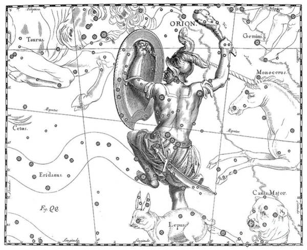 Wall Art - Drawing - Orion, The Austral Constellation Of The Great Hunter by Johann Hevelius