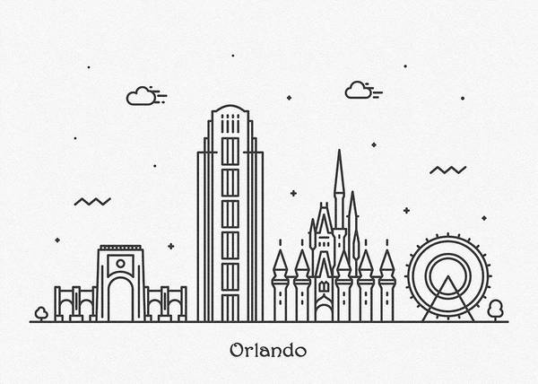 Wall Art - Drawing - Orlando Cityscape Travel Poster by Inspirowl Design