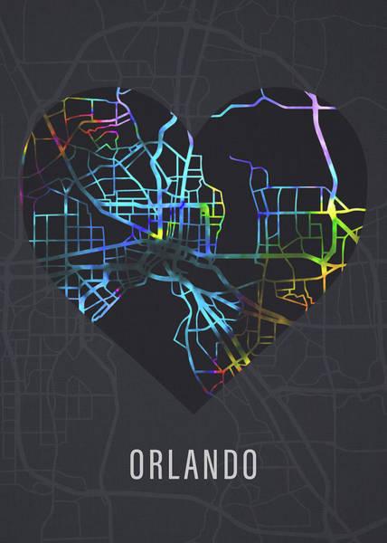 Wall Art - Mixed Media - Orlando Florida City Heart Street Map Love Dark Mode by Design Turnpike