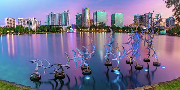 Photograph - Orlando Lake Eola Skyline Panorama - Take Flight Bird Sculpture by Gregory Ballos